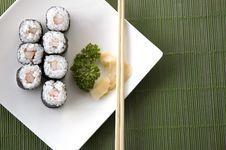 Free Sushi Set On Green Background Royalty Free Stock Image - 24592776