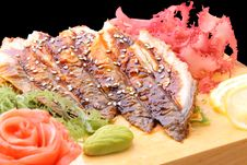 Free Sashimi Unagi On A Board Closeup Stock Photos - 24592853