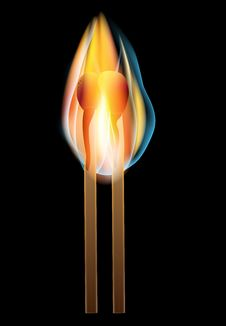 Free Two Burning Matches A Black Background Stock Photography - 24594212