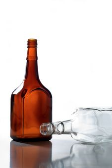 Free Two Empty Bottles Royalty Free Stock Image - 24595386