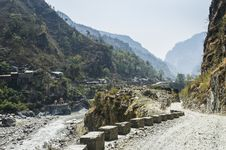 Narrow Road In Himalaya Royalty Free Stock Photos