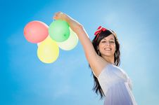 Free Felicity With Balloons And Blue Sky Stock Photo - 24597980