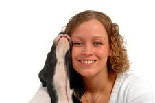 Happy Woman And Funny Dog Stock Photography