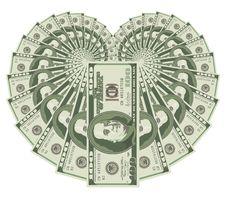 Dollar Heart Royalty Free Stock Photos