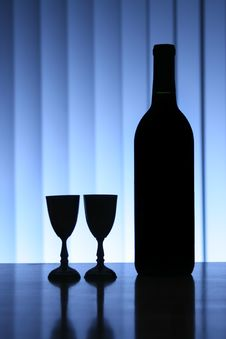 Free Wine Bottle With Two Glasses Stock Photography - 2464722