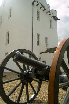 Big Cannon And Castle Stock Photo