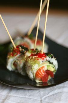 Free Skewered Sushi Dish Royalty Free Stock Photo - 2465915