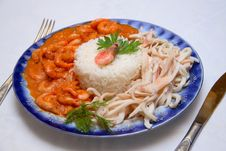 Shrimps And Squids With Rice Royalty Free Stock Image