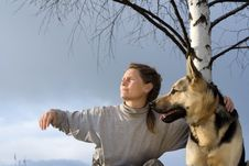 Free Woman With Dog Stock Photo - 2466830