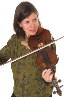 Free Mid-age Woman Playing Violon Stock Photography - 2467442