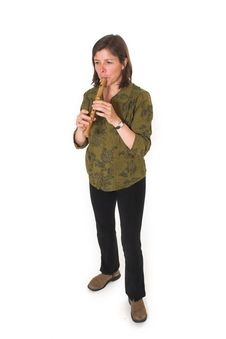 Free Mid-age Woman Playing Flute Stock Photos - 2467443