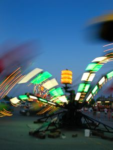 Amusement Park At Dusk Stock Photography