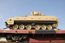 Military Tank On Railcar Stock Image