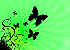 Butterflies And Spring Green Royalty Free Stock Images
