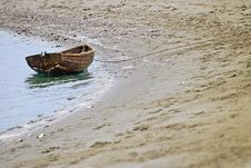 Beached Wooden Row Boat Stock Photography