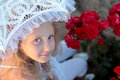Free Girl Looks Out From Under The Lace Parasol Stock Photos - 24609233