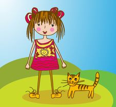 Free Little Girl With Kitty Royalty Free Stock Image - 24606806