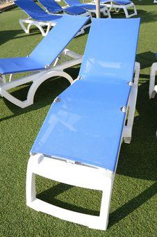 Blue Deckchair Stock Image