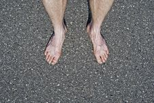 Free Male Naked Feet On Cement Stock Photography - 24609132