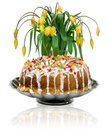Free Easter Cake And A Bouquet Of Yellow Tulips Stock Images - 24610984