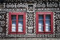 Free Red Windows On Wooden Wall Of Traditional Cottage Stock Photos - 24613043