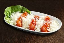 Free Tomato Salad With Cheese Royalty Free Stock Photo - 24612645