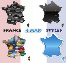 Free France Map Set Royalty Free Stock Photos - 24613638