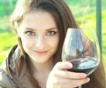 Free Red Wine. Woman Drinking Red Wine Stock Photography - 24626432
