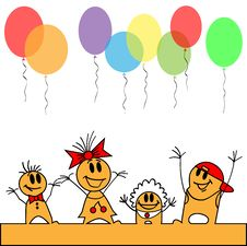 Free Children Run The Balloons Royalty Free Stock Photos - 24621728