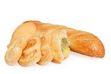 Bread, Puff Cookies And Bun With Filling Stock Photography