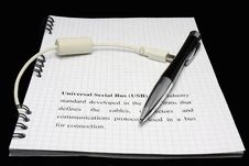 Free Pen And Usb Cable Stock Images - 24625904