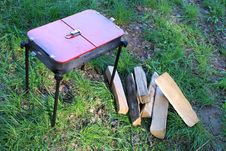 Free Barbecue And Wood On The Green Grass Royalty Free Stock Photos - 24626108