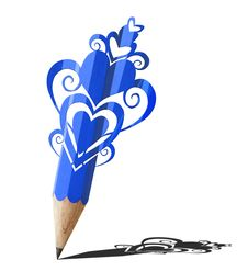 Free Art Of Heart Graphic  Blue Pencil. Stock Photos - 24630163