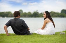 Couple At The Lake Royalty Free Stock Photo