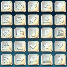 Free Metallic Icons Royalty Free Stock Photos - 24634018