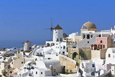 Traditional Village At Santorini, Greece Stock Photo