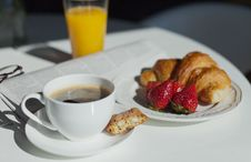Free Breakfast. Coffee Cup And Croissant Stock Image - 24636051