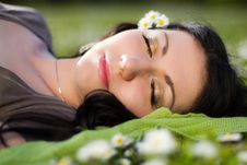 Free Beautiful Girl Lying On The Grass With Flowers Royalty Free Stock Photography - 24639167