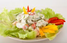 A Salad Of Tomatoes And Cucumbers Royalty Free Stock Images
