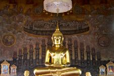 Free Golden Buddha Statue On Mural Background Royalty Free Stock Photo - 24644975
