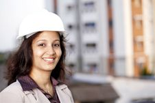 Cheerful Young Female Architect Royalty Free Stock Images