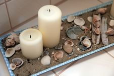 Bath Decoration With Candles And Shells Stock Photo