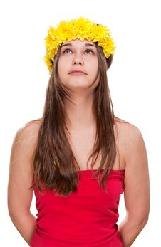 Free Girl In Daisy Wreath Looking Up Royalty Free Stock Photos - 24654358