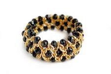 Beautiful Golden Bracelet With Black Stone On Isol Stock Photo