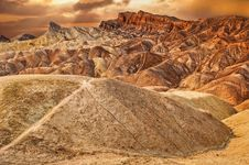 Free Zabriskie Point Desert Sunset Stock Images - 24660464