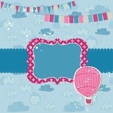 Party Card With Air Balloon Stock Photography