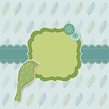 Free Beautiful Floral Card With Bird Stock Photos - 24662703