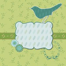Free Beautiful Floral Card With Bird Stock Images - 24662714