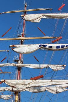 Free White Sail Frigate With Three Mast Stock Photo - 24663310