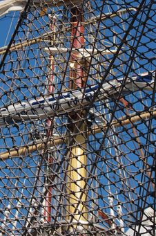 Free Net On The Stern Of Frigate With Three Mast Royalty Free Stock Image - 24663566
